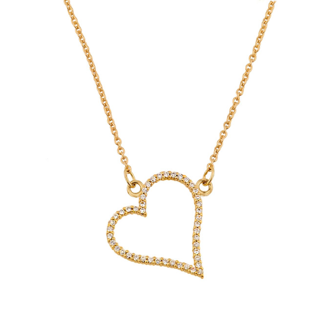 14K Yellow Gold Diamond Studded Heart Necklace