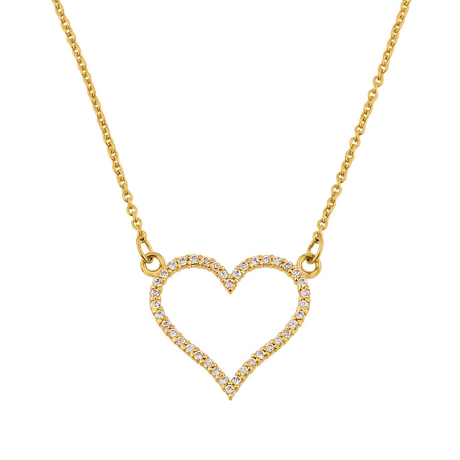 14K Yellow Gold Diamonds Studded Open Heart Necklace