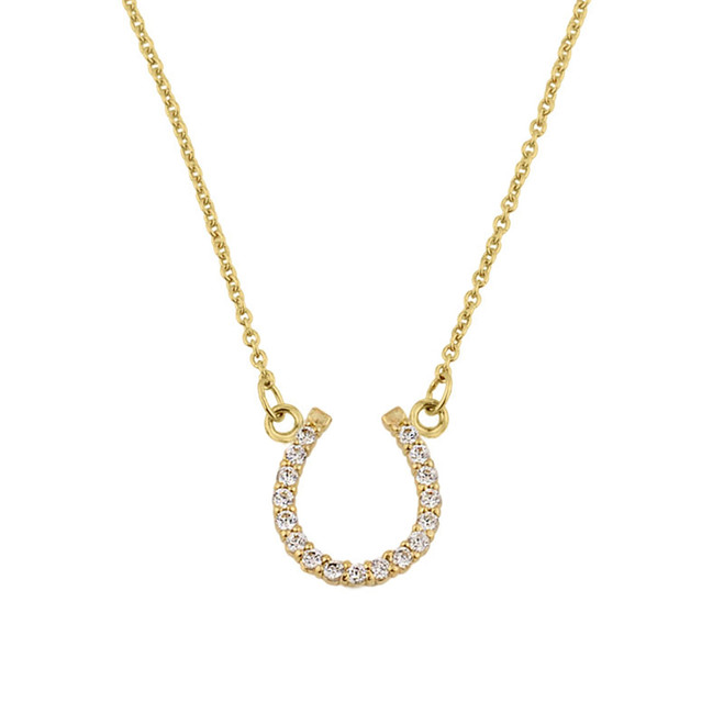 14K Yellow Gold Diamonds Studded Horseshoe Necklace