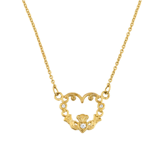 14K Gold Diamond Claddagh Pendant Necklace