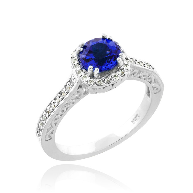 Blue Sapphire White Gold Halo Diamond Pave Engagement Ring