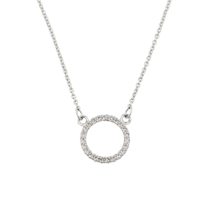 "14k White Gold ""Circle of Love"" Diamond Necklace"