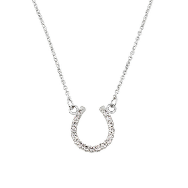 14K White Gold Diamond Studded Horseshoe Necklace