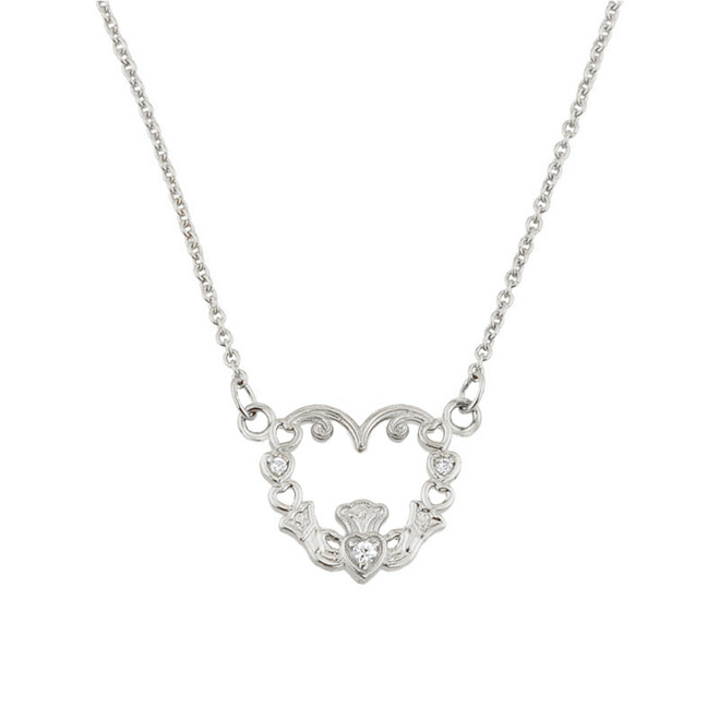 14K White Gold Diamond Claddagh Pendant Necklace