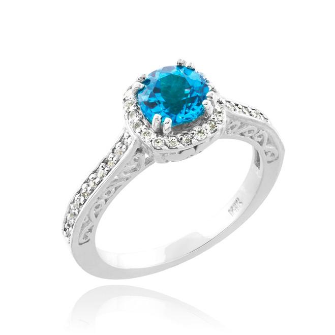 Aquamarine Solitaire Halo Diamond Pave White Gold Engagement Ring