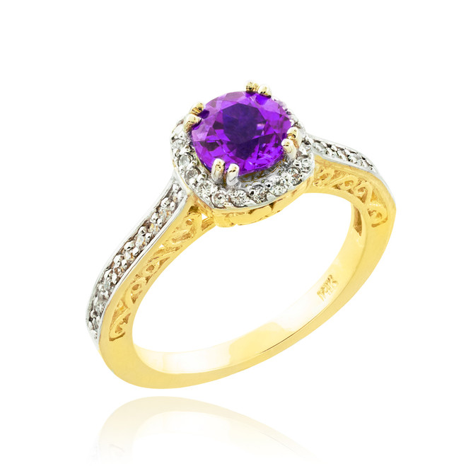 Amethyst Solitaire Halo Diamond Pave Gold Engagement Ring