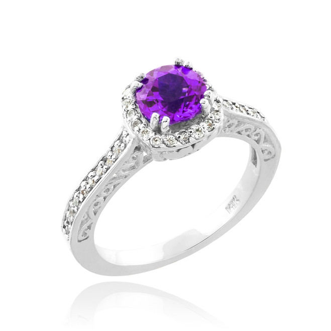 White Gold Amethyst Solitaire Halo Diamond Pave Engagement Ring
