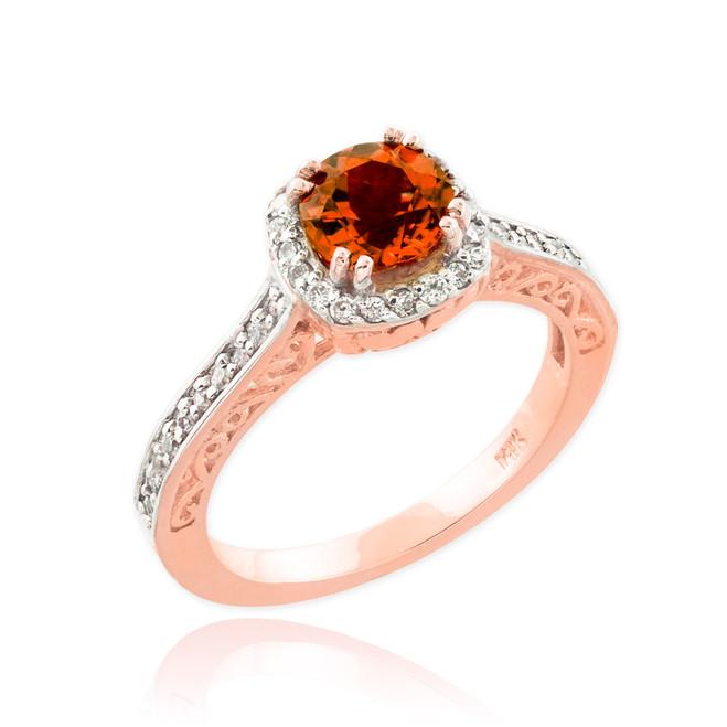 Garnet Birthstone Halo Diamond Pave Rose Gold Engagement Ring