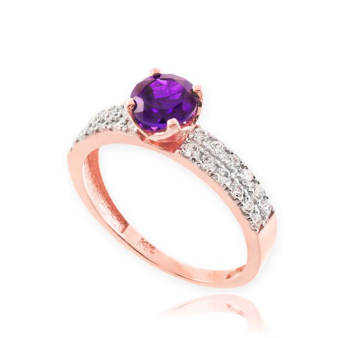 Amethyst Gemstone Rose Gold Diamond Pave Engagement Ring