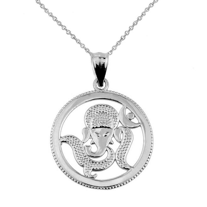 White Gold Lord Ganesha Charm Pendant