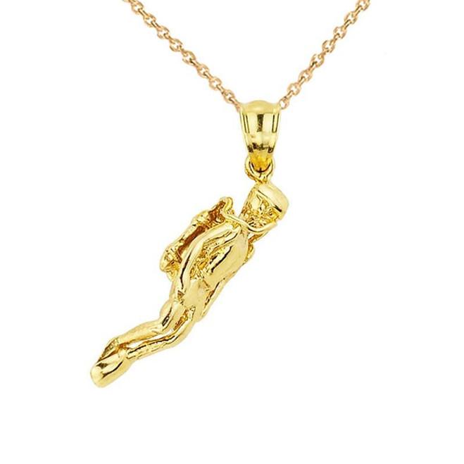 Gold Scuba Diver Sports Charm Pendant Necklace