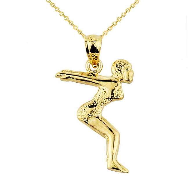 Gold Lady Swimmer/Diver Charm Pendant