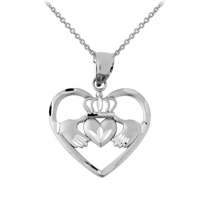 Silver Claddagh Pendant Necklace in Heart