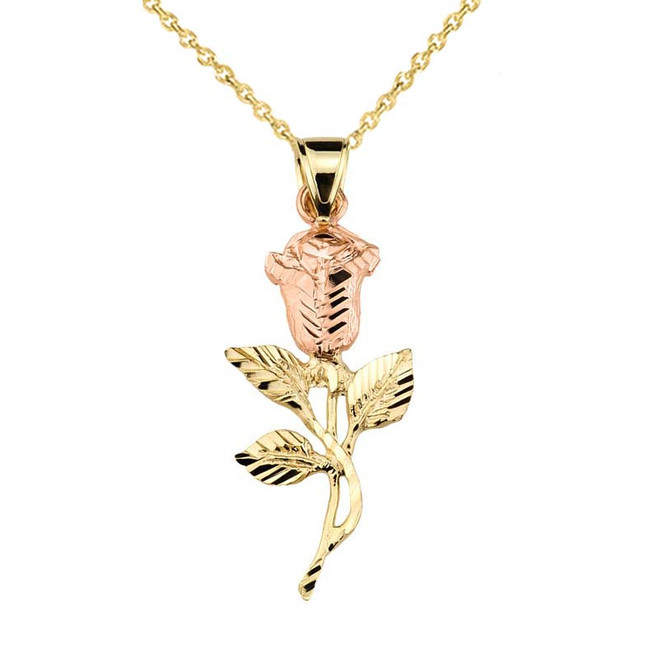 Two Tone Gold Rose Flower Pendant Necklace