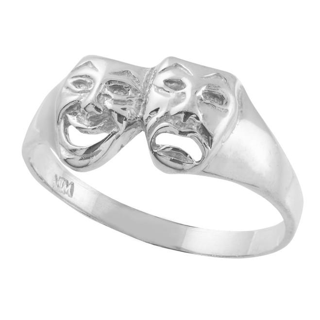 White Gold Drama Mask Ring