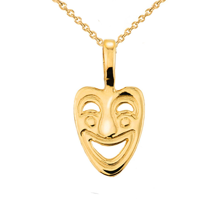 Yellow Gold Comedy Mask Pendant Necklace