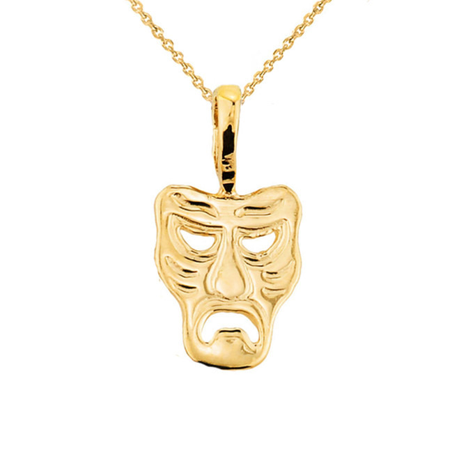 Yellow Gold Tragedy Mask Pendant Necklace