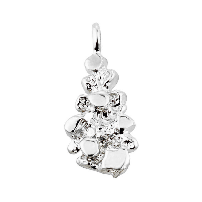 Solid White Gold Nugget Pendant