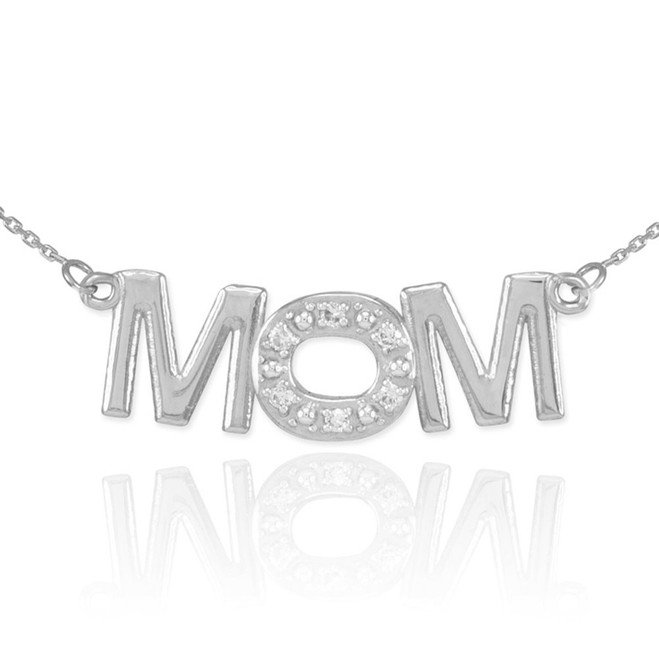 14K White Gold MOM Diamond Studded Pendant Necklace