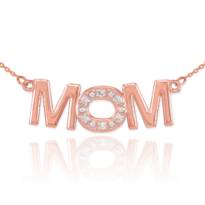 14K Rose Gold MOM Diamond Studded Pendant Necklace
