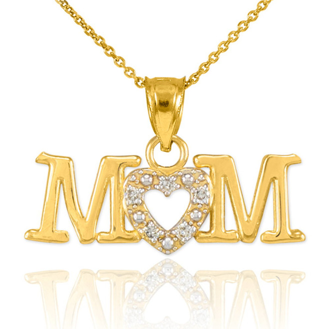 14K Gold MOM Diamond Studded Heart Pendant Necklace