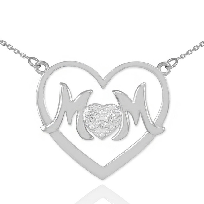 "14K White Gold Diamond Pave Heart ""MOM"" Necklace"