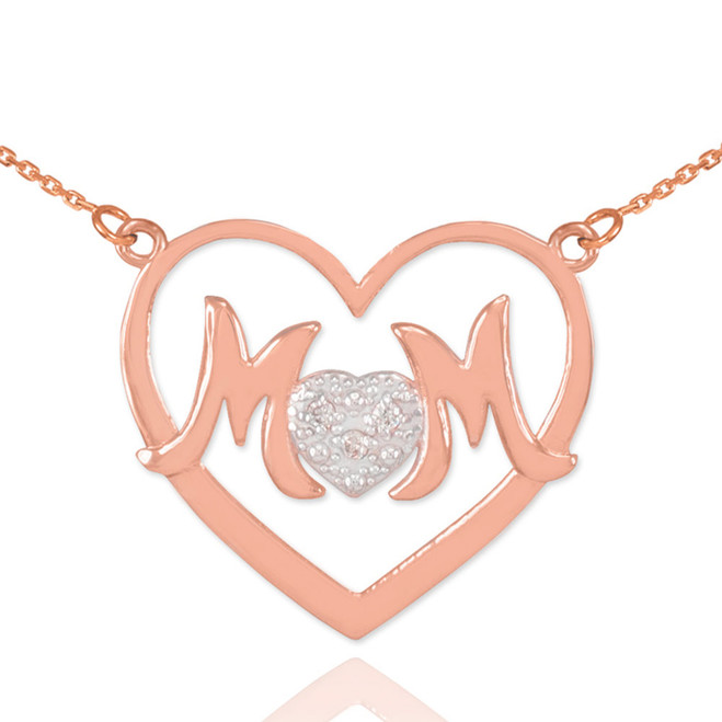 "14K Rose Gold Diamond Pave Heart ""MOM"" Necklace"