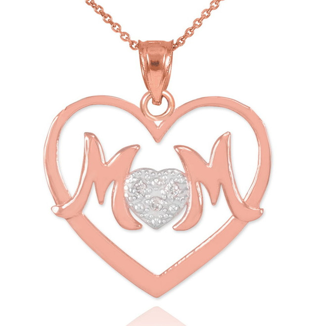 "14K Rose Gold Diamond Pave Heart ""MOM"" Pendant Necklace"