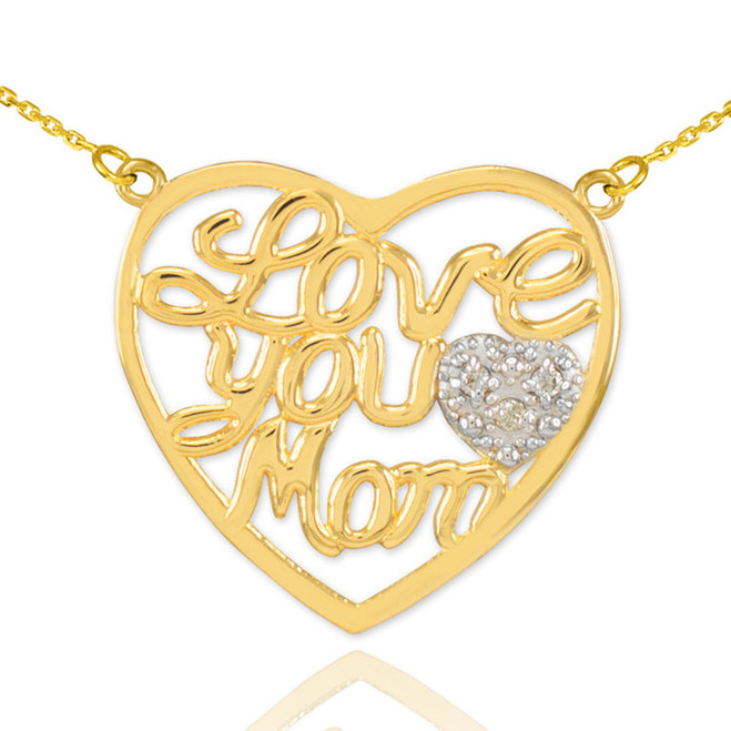 "14K Gold Diamond Pave Heart ""Love Your Mom"" Script Necklace"