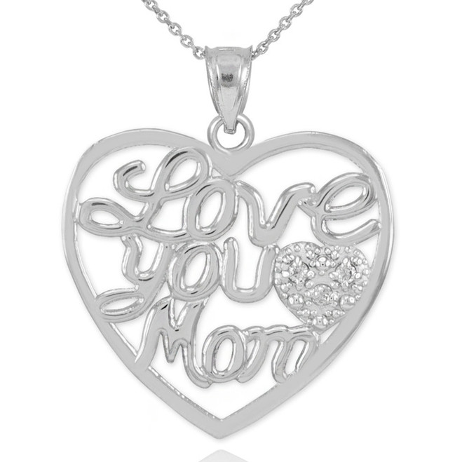 "14K White Gold Diamond Pave Heart ""Love You Mom"" Pendant Necklace"