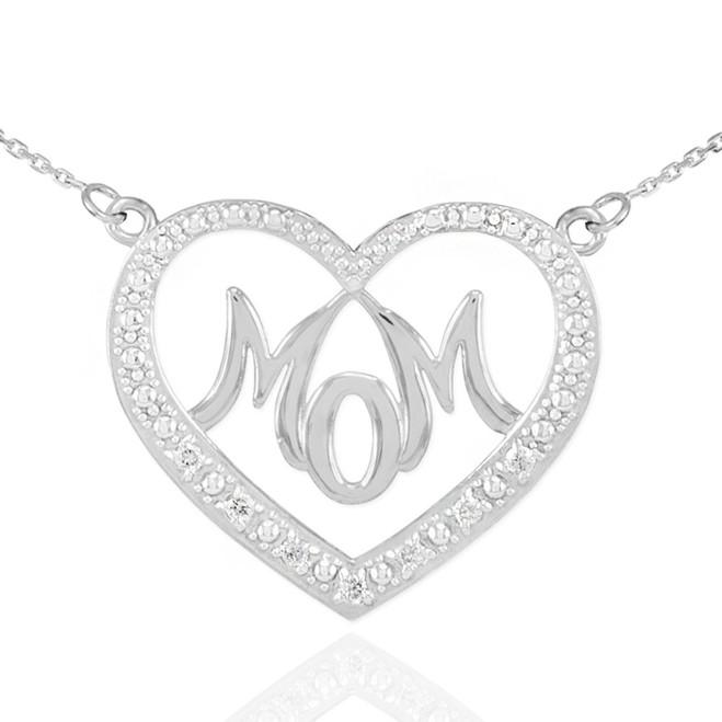 "14K White Gold Diamond Studded ""Mom"" Heart Necklace"