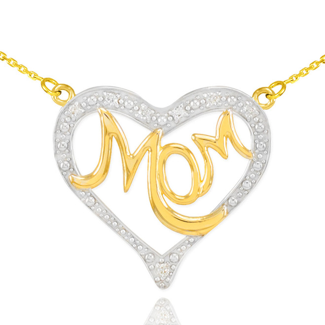 "14K Two-Tone Gold Diamond Studded ""Mom"" Heart Necklace"
