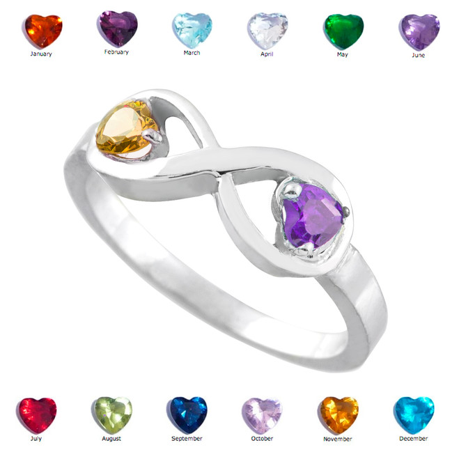 White Gold Dual Heart CZ Birthstone Infinity Ring