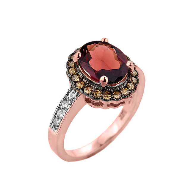 Rose Gold Garnet and Diamond Engagement Ring