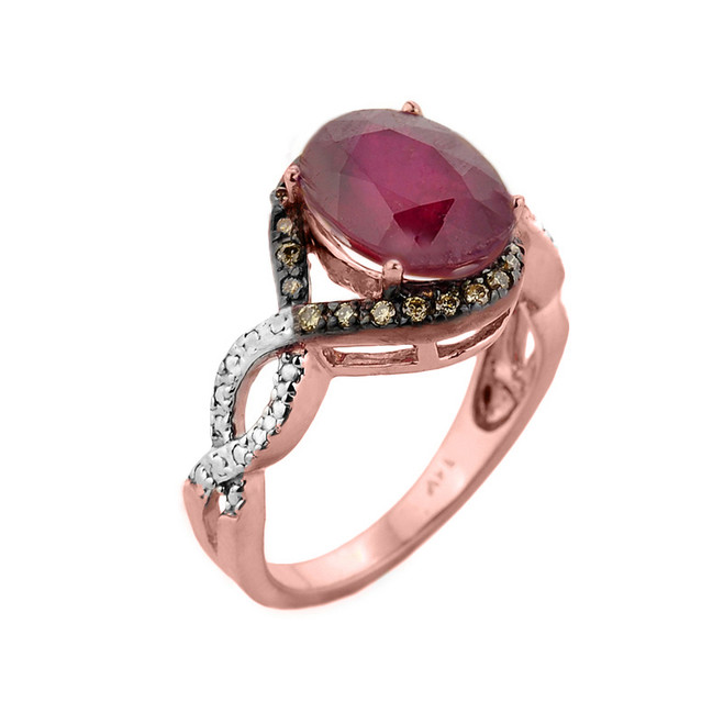 Rose Gold Ruby and Champagne Color Diamond Infinity Engagement Ring