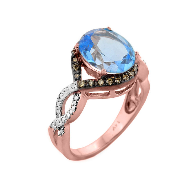 Rose Gold Blue Topaz and Champagne Color Diamond Infinity Engagement Ring
