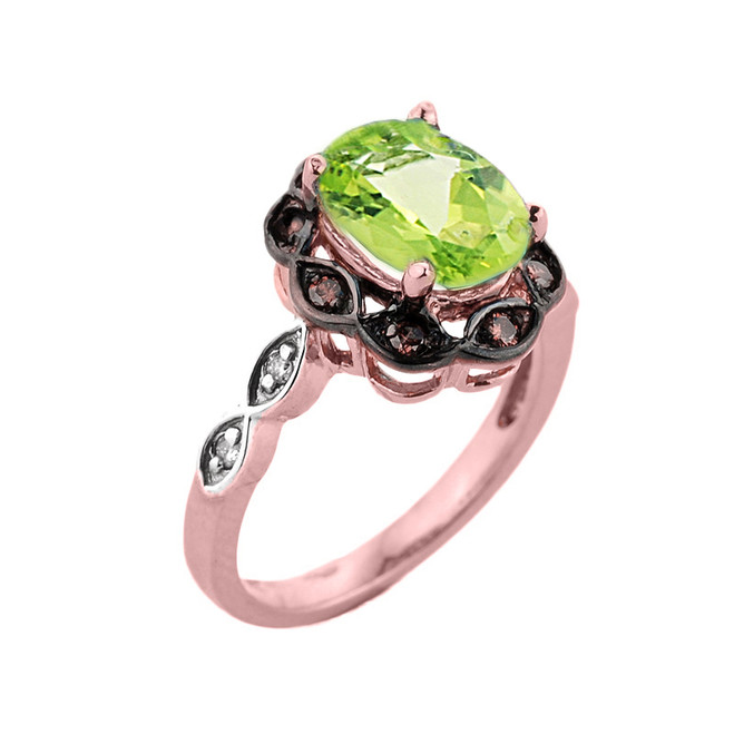 Rose Gold Peridot and Diamond Proposal Ring
