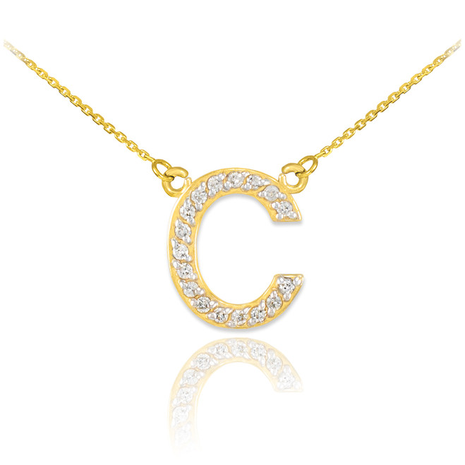 "14k Gold Letter ""C"" Diamond Initial Necklace"