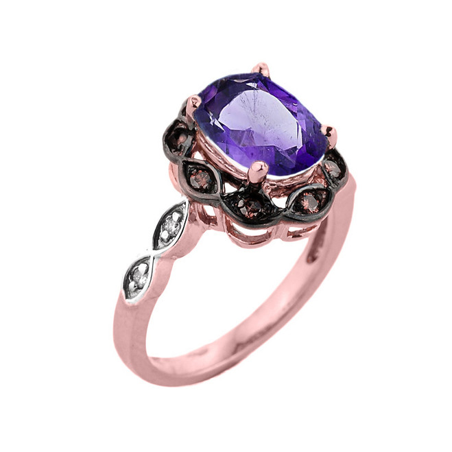 Rose Gold Amethyst and Diamond Proposal Ring