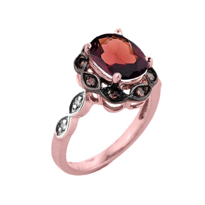 Rose Gold Garnet and Diamond Proposal Ring
