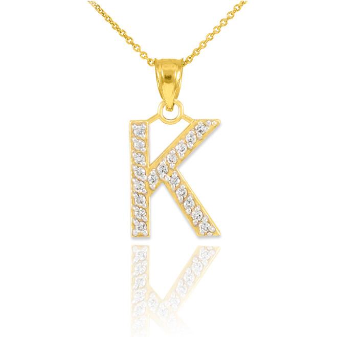 "Gold Letter ""K"" Diamond Initial Pendant Necklace"