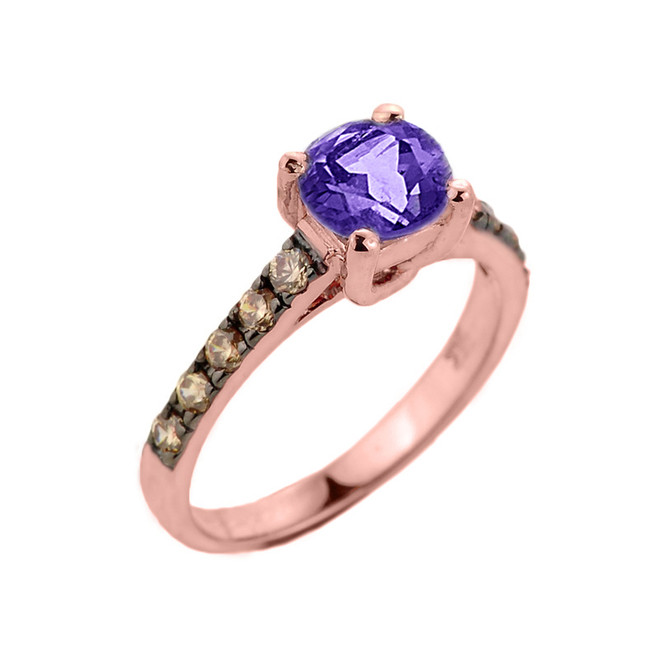 Rose Gold Amethyst and Diamond Solitaire Proposal Ring