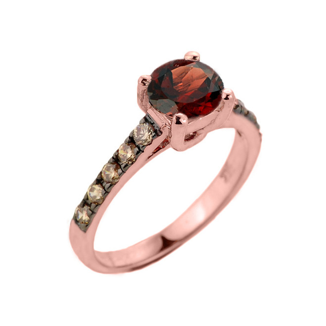 Rose Gold Garnet and Diamond Solitaire Proposal Ring