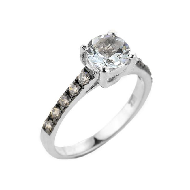 White Gold Aquamarine and Diamond Solitaire Ring