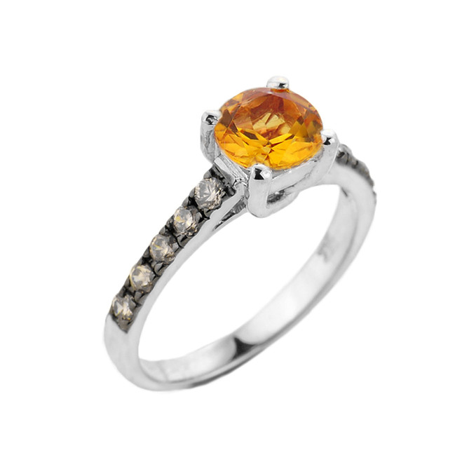 White Gold Citrine and Diamond Solitaire Ring