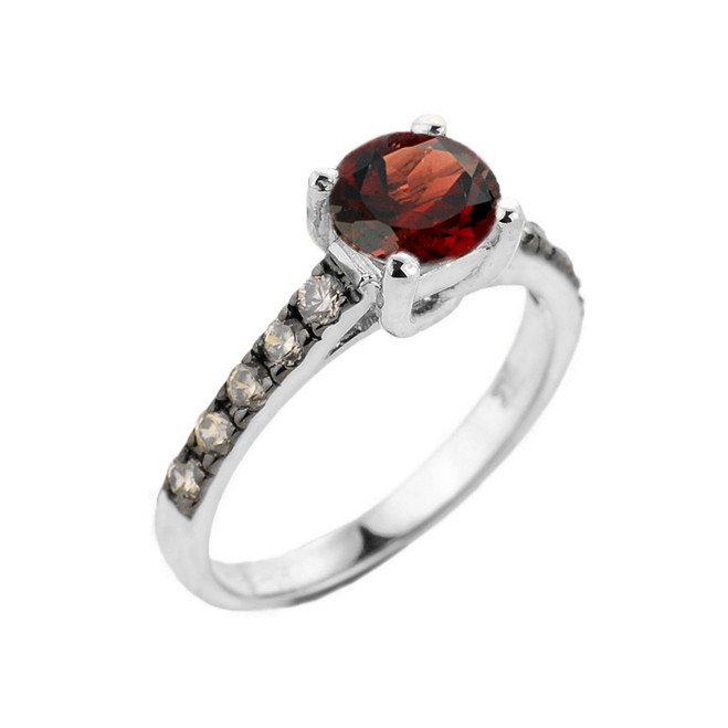 White Gold Garnet and Diamond Solitaire Ring