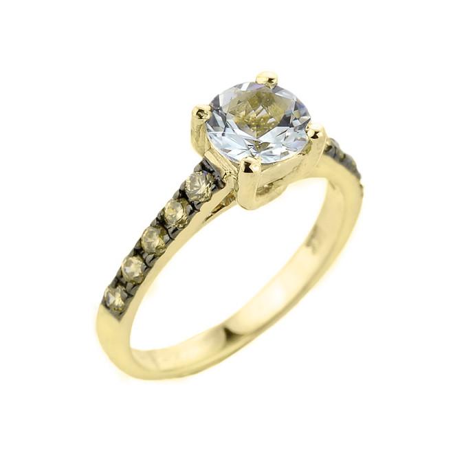 Yellow Gold Aquamarine and Diamond Solitaire Ring