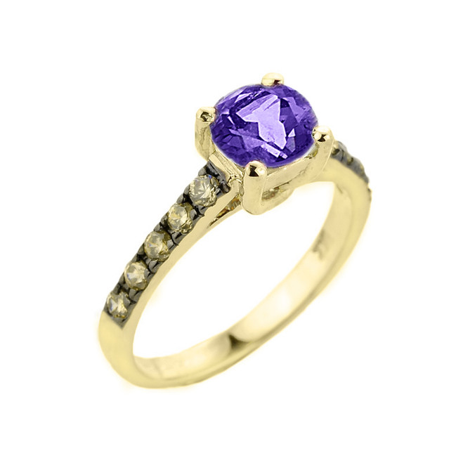 Yellow Gold Amethyst and Diamond Solitaire Ring
