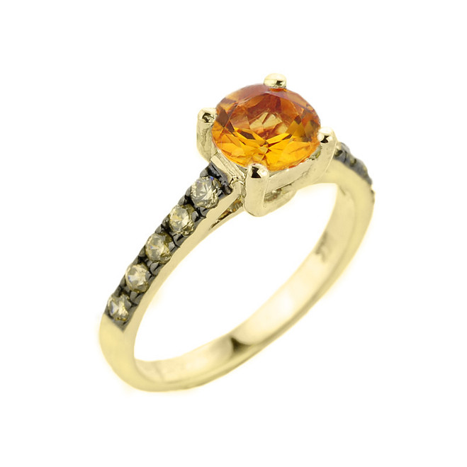 Yellow Gold Citrine and Diamond Solitaire Ring