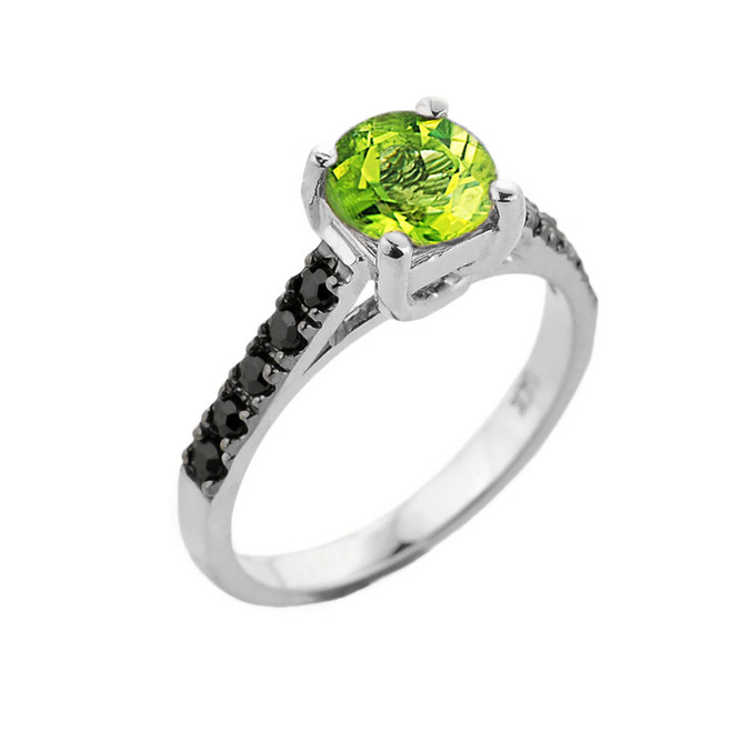White Gold Peridot and Black Diamond Solitaire Engagement Ring